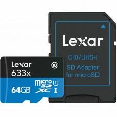 Lexar 633x SDXC Micro SD Class 10 Memory Card - 64GB